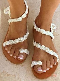 164b738d0c3ea0 Items similar to Ivory Roses Bridal sandals