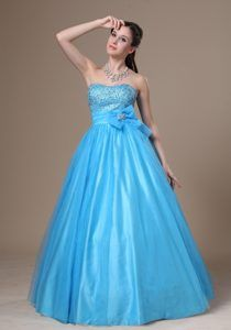 Recommended A-line Baby Blue Tulle Taffeta Prom Dresses with Beading