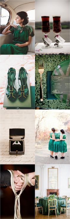 Autumn weddings are blessed with nature's most vibrant backdrop with leaves of fiery reds, oranges, and opulent golds. And what better colour to finish this palette than a deep and daring emerald green? Our moodboard today is a regal, yet wholly modern collection of inspirational images that are destined to get the autumn bride's creative juices flowing