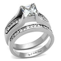 A Perfect 1CT Princess Cut Russian Lab Diamond Channel Set Wedding Bridal Set Ring