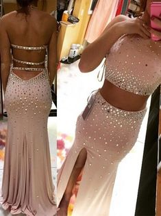 Buy Two Piece Prom Dress/Evening Dress - Pink Halter Neck Sheath Beading Prom Dresses under US$ 163.99 only in SimpleDress.