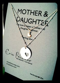 Mother Daughter Jewelry. Inspirational Gift. Mom Necklace. Simple Delicate. Sterling Silver. I die - would love to have this for Ava and I :)