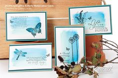 This project sheet will show you how to create a set of four freshSpringtime cards, using Watercolour Pencils to blend colours. Butterfly Watercolor, Watercolor Pencils, Watercolor Cards, Watercolors, Scrapbook Cards, Scrapbooking, Quick Cards, Butterfly Cards, Creative Cards
