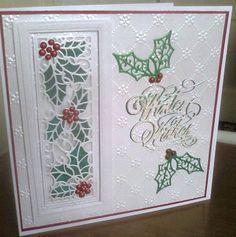 White on White Christmas Card - Flourishtina Pinterest Christmas Cards, Christmas Cards 2018, Simple Christmas Cards, Homemade Christmas Cards, Christmas Greeting Cards, Homemade Cards, Holiday Cards, Holly Christmas, Winter Cards