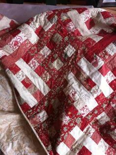 Great use of reds and whites - Split Rail Fence Quilt