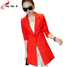 Pure Color Blazer Coat New 2016 Spring Suit Jacket Women Long Blazer Fashion Female Long Sleeved Red Blazer Women
