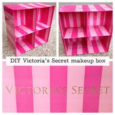 DIY Victoria's Secret makeup display! Use Victoria's Secret bags to Mod Podge a drab box or shelf into a glamorous makeup display everyone will be jealous of!