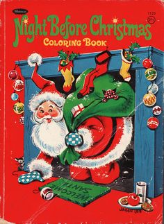 A Whitman coloring book from my childhood. Late teens actually. I still like coloring in coloring books! Cover illustrations by the talented Jason Lee. The Night Before Christmas, Christmas Past, Christmas Books, Winter Christmas, Christmas Christmas, Vintage Christmas Images, Retro Christmas, Vintage Holiday, Vintage Coloring Books