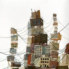"""Ottavia"" , paintings by Amy Casey, a faboulous painter Urban Architecture, Architecture Drawings, Dystopian Art, Invisible Cities, Fantasy City, City Illustration, House Drawing, Design Graphique, Art Plastique"
