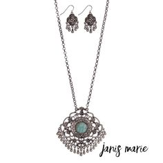 """◦Turquoise Stone ◦Metal Fringe Pendant◦ DESCRIPTION:  Silver tone necklace set with a Marrakesh pendant accented with a turquoise stone and metal fringe. Approximately 32"""" in length. Janis Marie  Jewelry Necklaces"""