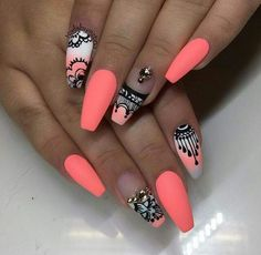 Pics of Summer nails ideas. style summer Related PostsCreative christmas nail designs 201610 New Summer Nail Polish Trending Summer Nail Polish ColorsLatest Nail Polish Colors for SummerThe 10 Trendiest Summer Na. NOT THE SHAPE! Neon Nails, Love Nails, My Nails, Coral Pink Nails, Summer Nails Neon, Neon Orange Nails, Summer Nail Polish, Gel Polish, Gorgeous Nails