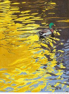 Ripples | A lone mallard cruises across an autumn lake | Reduction linocut print. Edition of 8. Hand printed on Hosho paper | Sherrie York Printmaker