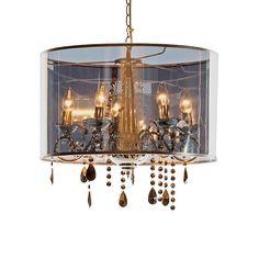 LUXURY LUX Kronleuchter Ein spannender Mix zwischen Kronleuchter und Schirmlampe ist Luxury Lux - und noch spannender ist die Verwandlung von Licht aus zu Licht an. Denn während der Kronleuchter zuerst nur leicht durchschimmert, kommt er plötzlich prächtig zur Geltung. Aus verchromtem Metall und Kunststoff, mit Glas-Ornamenten. Groesse: Höhe ca. 32 cm, Ø ca. 50 cm Material: Aus Metall mit verchromten Glas-Ornamenten und Lampenschirm aus halb-transparentem Kunststoff. Chandelier, Ceiling Lights, Living Room, Lighting, Luxury, Antiques, House, Home Decor, Bedroom