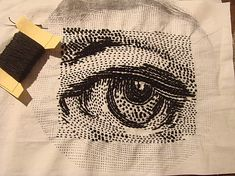 embroidered eye - black & white