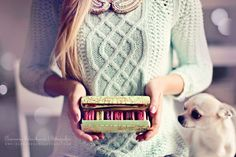 photo by eleonora sebastiani | #mint #romantic #sweater #winter #dog #ladurèe #vintage #macaroons #collar