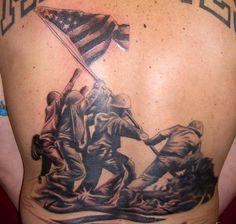 Impressive Iwo Jima back tattoo