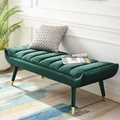 Guess Channel Tufted Performance Velvet Accent Bench in Green, Size: 20 inchLarge x inchH Sofa Design, Furniture Design, Concrete Furniture, Living Room Bench, Living Room Decor, Bedroom Benches, Bed Bench, Long Bench, Chic Living Room