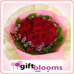 Angelic Beauty  Hand Bouquet of Two Dozen Red Roses with Berry, Statice & Park Leaf
