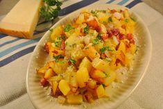gebakken aardappel met spek en ui