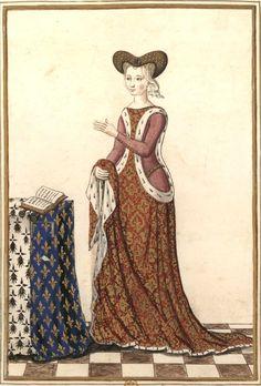 Dessin d'une miniature tirée d'un livre d'Heures (Gaignières 708). -- «Marguerite d'Orléans, comtesse de Vertus en Champagne, fille de Louis de France, duc d'Orléans & de Valentine de Milan, fut mariée vers l'an 1424 à Richard de Bretagne, comte d'Estampes (IVe fils de Jean, duc de Bretagne) lequel mourut en 1438 & Marguerite en 1466».