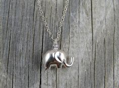Sterling silver elephant necklace, lucky necklace, charm necklace, silver necklace, choker, minimalist necklace, dainty necklace on Etsy, $22.00