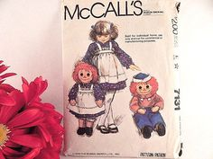 "Raggedy Ann and Andy Dolls 36"" Sewing Craft Pattern McCalls 7131 VTG 1980"