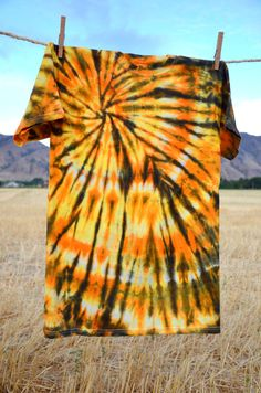 Tie Dye Halloween Autumn Orange and Black  Swirl Adult Shirt size S