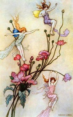 Playful fairies and flowers