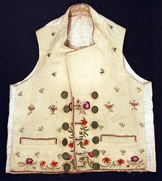 Metropolitan Museum: chaleco de EEUU o Europa de lana y lino de 1800-05 (Inventario: 1977.34)