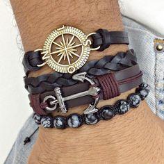 kit 4 pulseiras masculinas couro âncora rosa dos ventos bracelet man men's fashion
