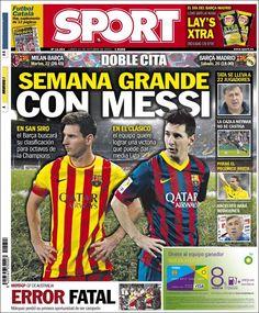 Los Titulares y Portadas de Noticias Destacadas Españolas del 21 de Octubre de 2013 del Diario Sport ¿Que le pareció esta Portada de este Diario Español?