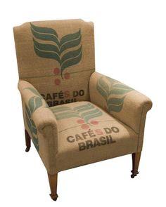 Burlap Coffee Bean Sack - Library Chair Cafe' de Brazil