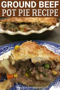 This easy ground beef pot pie recipe is the perfect hearty, easy meal for a family of four or more. With a few ingredients you can have a delicious meal. Hamburger Meat Recipes Ground, Ground Beef Dishes, Hamburger Dishes, Easy Hamburger Meat Recipes, Easy Meat Recipes, Cooking Recipes, Dinner Recipes, Turkey Recipes, Soup Recipes