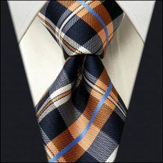Checked Navy Blue Orange White Mens Necktie Tie 100% Silk Jacquard Woven