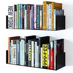 WALLNITURE Floating Wall Mount Metal U Shape Shelf Book CD DVD Storage Display Bookcase Black Set of 2
