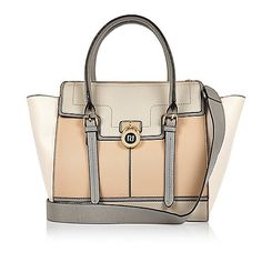 Beige padlock winged tote handbag - shoppers / tote bags - bags / purses - women   [[ $90.00 ]]