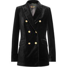 Seafarer Velvet Blazer (435 JOD) ❤ liked on Polyvore featuring outerwear, jackets, blazers, black, velvet lapel blazer, fitted jacket, velvet jacket, fitted blazer and fitted blazer jacket