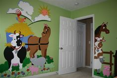 Such cute ideas for a kids room - paint by number murals!