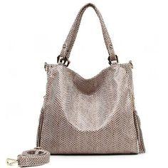 Arliwwi Brand High Quality Shiny PU Leather OL style Serpentine Embossed Large Capacity Ladies Shoulder Bags Handbags Women
