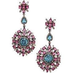 Preowned Blue Topaz Pink Tourmaline Diamond Silver Gold Drop Earrings