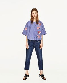 ZARA - WOMAN - SHORT BLOUSE WITH EMBROIDERIES