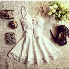 White spaghetti straps mini dress
