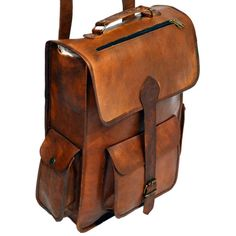 "Vintage Leather Rucksack with Large Pockets, 15"" x 11"" x 5"""