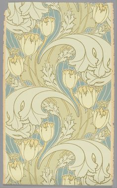 Tulip design ( 1893-95) by Charles Francis Annesley Voysey (1857 - 1941). Block-printed on paper. Cooper–Hewitt, National Design Museum Google Art Project: Home via Wikimedia