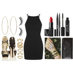Party by ericacarminatti on Polyvore featuring moda, Topshop, Yves Saint Laurent, Jennifer Meyer Jewelry, Forever 21, Stila and NARS Cosmetics