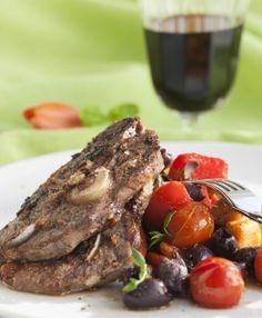 Lamb chops with ratatouille and olives - Karitsankyljyksiä, ratatouillea ja paahdettuja oliiveja, resepti – Ruoka.fi