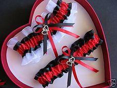 Double Heart Wedding Garter Set  Red  Black White Prom