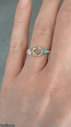 Mociun custom design with bicolor sapphire, antique diamond and turquoise