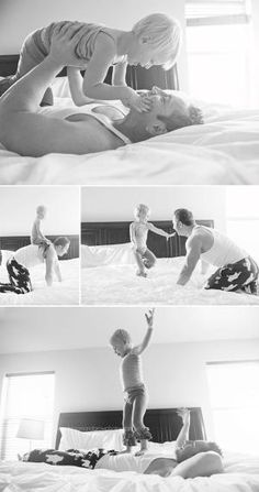Bloom and Grow Photography Utah Family Lifestyle Photographer. Bedroom photoshoot, jumping on the white bed by sonja