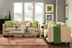 Looking at green accents? This living room is for you. We love the blush-colored furnishings instead of the usual beige or grey.